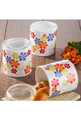 Keramika 3 Parça Saklama Kabi Takımı Ege 12 cm Beyaz Renkli Trend