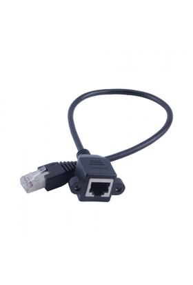 Ti-mesh RJ45 M/F Vidalı Panel Korumalı Ethernet LAN Network Uzatma Kablosu - 3M