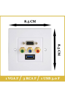 Ti-mesh USB3.0 VGA 3RCA AV Wall Plate Composite Video Audio Adapter Jack