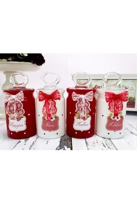 Dekorelle Red Flowers 4 lü Cam Baharatlık Seti Kırmızı Beyaz