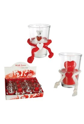 BuldumBuldum Love Candle İn Glass - Aşk Mumu - Kalpli