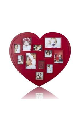 BuldumBuldum Heart Plastic Photo Frames - Kalp Fotoğraf Çerçeveleri - Beyaz Ahşap (30X30Cm)