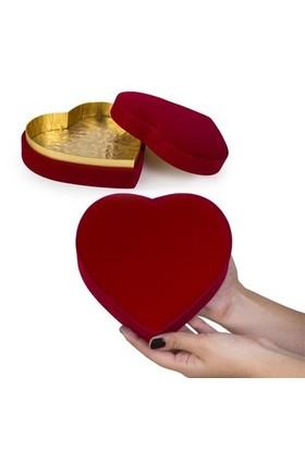 BuldumBuldum Kadife Kalp Hediye Kutusu - 13X11X6 Cm