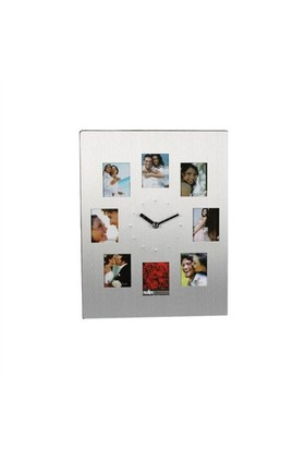 BuldumBuldum Aluminium Clock With 8 Photo Frame - Çerçeveli Masa Saati