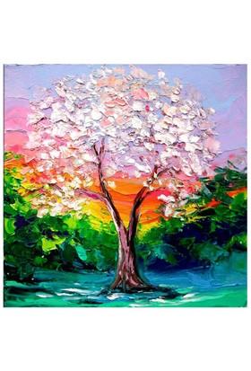 Arte Beyaz Yapraklı Ağaç Kanvas Tablo