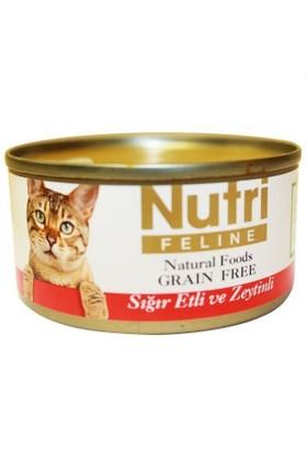 Nutri Feline Tahılsız Sığır Etli Zeytinli Kedi Konservesi 80 gr