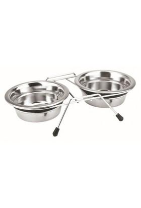 Nobby Silent Diner İki Hazneli Ayaklı Sessiz Çelik Mama ve Su Kabı 2 X 13 cm 0,40 Lt