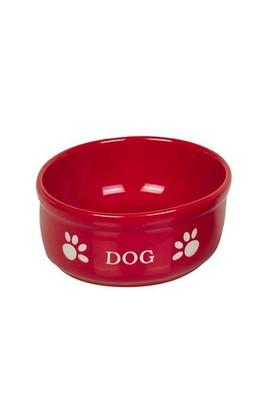 Nobby Pati Desenli Seramik Köpek Mama ve Su Kabı 15,5 X 6,5 cm Kırmızı