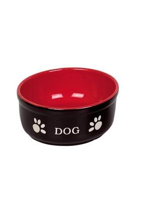 Nobby Pati Desenli Seramik Köpek Mama ve Su Kabı 15,5 X 6,5 cm Siyah-Kırmızı