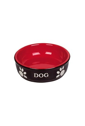 Nobby Pati Desenli Seramik Köpek Mama ve Su Kabı 12 X 3,7 cm Siyah-Kırmızı