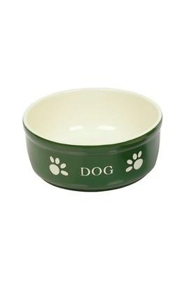 Nobby Pati Desenli Seramik Köpek Mama ve Su Kabı 15,5 X 6,5 cm Yeşil
