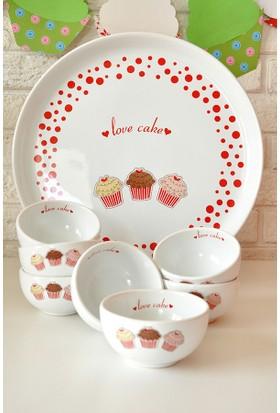 Keramika 8 Parça Kahvaltı Takımı Hitit Beyaz Fruit Cake