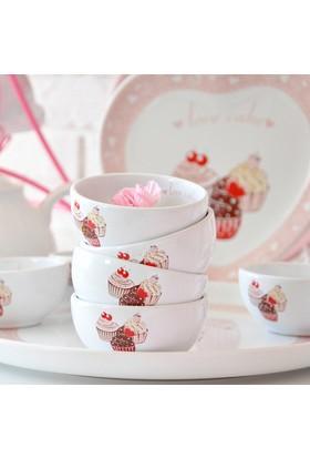 Keramika 8 Parça Hitit Kahvaltı Takımı Beyaz Pembe Cake