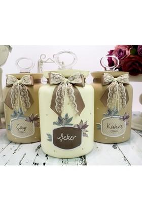 Dekorelle Branches 1.5 lt Kahve Linen Cam Kavanoz Seti