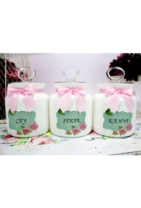 Dekorelle Roses Yeşil Beyaz Cam Kavanoz Seti 1 lt.
