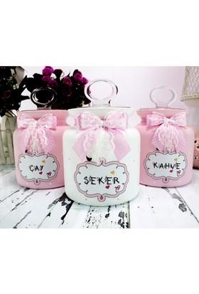 Dekorelle Pink Clouds Pembe Beyaz Cam Kavanoz Seti 1 lt.