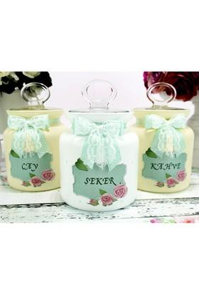 Dekorelle Roses Sarı Beyaz Cam Kavanoz Seti 1 lt.