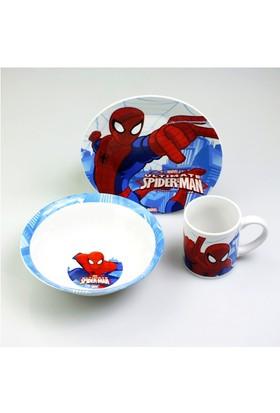 Örümcek Adam Porselen Tabak Kupa Kase (Yemek Seti 3lü)