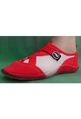 Ahs Fileli Deniz Ayakkabısı ( Kırmızı - Beyaz )