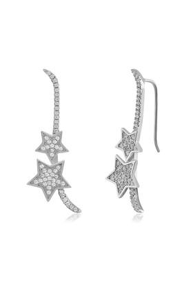 Coşar Silver Yıldızlı Uzun Gümüş Küpe CZ-EAR0713-2