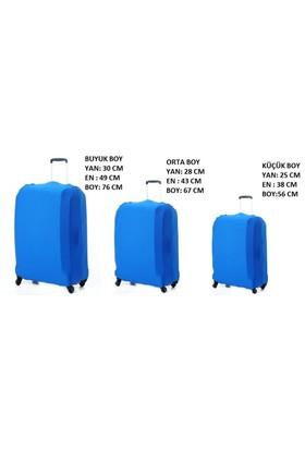 Vk Tasarım Valiz Kılıfı 3 lü Set Mavi