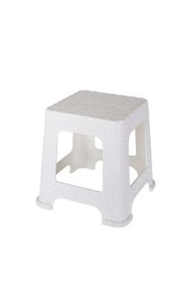 Elif Plastik Rattan Tabure Küçük Beyaz 5'Li Takım
