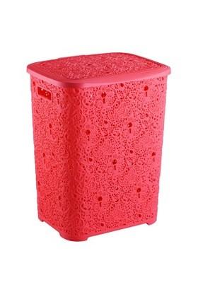 Elif Plastik Sarmaşık Dantelli Kirli Çamaşırlık Kırmızı