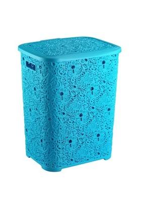 Elif Plastik Sarmaşık Dantelli Kirli Çamaşırlık Mavi