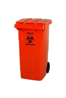 Arslan Plastik Tıbbi Atık Çöp Konteyneri 120 Lt- Kırmızı