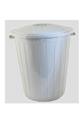 Derin Çöp Kovası Kapaklı Plastik 90 Lt Gri