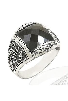 Siyah Taşlı Tuğralı Erkek Yüzüğü