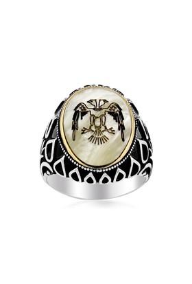 Sedef Üzerine Selçuklu Kartalı Motifli 925 Ayar Gümüş Yüzük