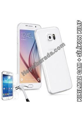 Teknomeg Samsung Galaxy S6 Şeffaf Silikon Kılıf + Temperli Cam