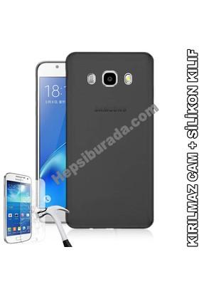 Teknomeg Samsung Galaxy J7 2016 Füme Silikon Kılıf + Temperli Cam