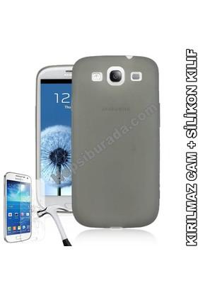 Teknomeg Samsung Galaxy S3 Füme Silikon Kılıf + Temperli Cam