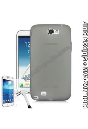 Teknomeg Samsung Galaxy Note 2 Füme Silikon Kılıf + Temperli Cam