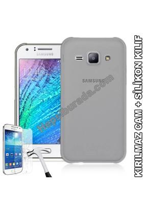 Teknomeg Samsung Galaxy J1 Ace Füme Silikon Kılıf + Temperli Cam