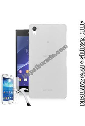 Teknomeg Sony Xperia Z2 Şeffaf Silikon Kılıf + Temperli Cam