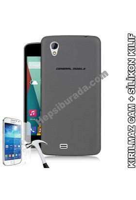 Teknomeg General Mobile Discovery 2 Mini Füme Silikon Kılıf + Temperli Cam