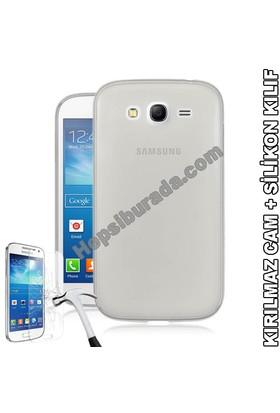 Teknomeg Samsung Galaxy Grand Neo Şeffaf Silikon Kılıf + Temperli Cam