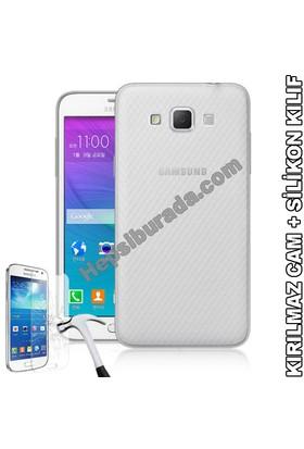 Teknomeg Samsung Galaxy Grand Max Şeffaf Silikon Kılıf + Temperli Cam