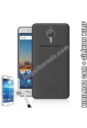 Teknomeg General Mobile Android One Gm5 Plus Füme Silikon Kılıf + Temperli Cam