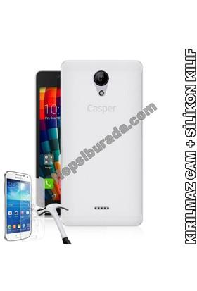 Teknomeg Casper Via E1 Şeffaf Silikon Kılıf + Temperli Cam