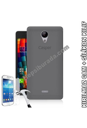 Teknomeg Casper Via E1 Füme Silikon Kılıf + Temperli Cam