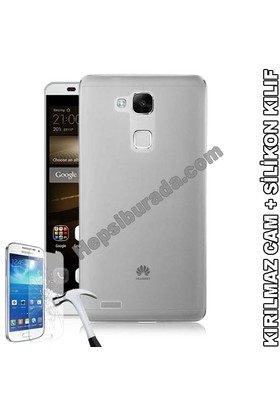 Teknomeg Huawei Mate 7 Şeffaf Silikon Kılıf + Temperli Cam