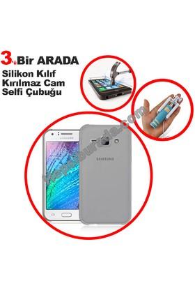 Teknomeg Samsung Galaxy J1 Ace Füme Silikon Kılıf + Temperli + Selfie