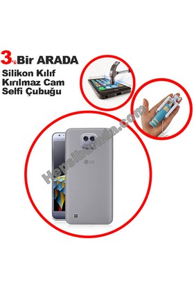 Teknomeg Lg X Cam Şeffaf Silikon Kılıf + Temperli + Selfie