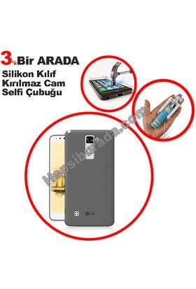 Teknomeg Lg Stylus 2 Füme Silikon Kılıf + Temperli + Selfie