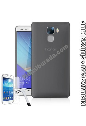 Teknomeg Huawei Honor 7 Füme Silikon Kılıf + Temperli Cam
