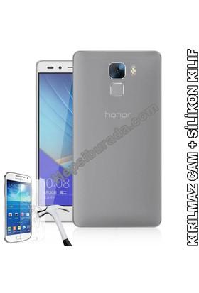 Teknomeg Huawei Honor 7 Şeffaf Silikon Kılıf + Temperli Cam